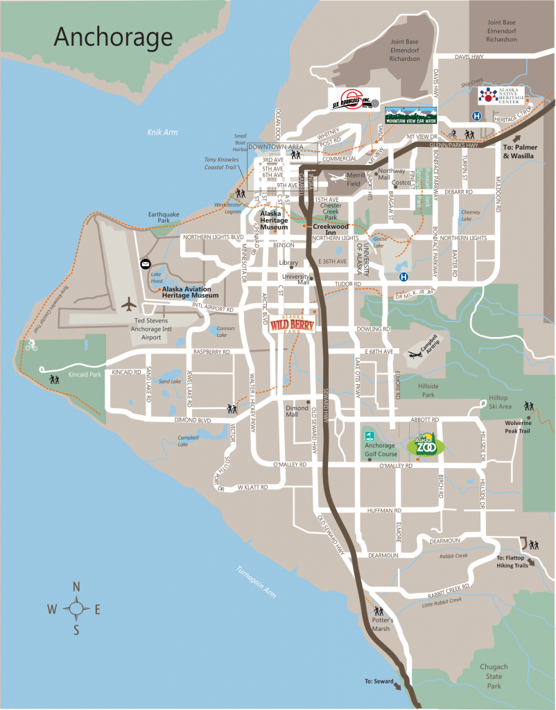 Anchorage City Map Afputracom - Cities in alaska map