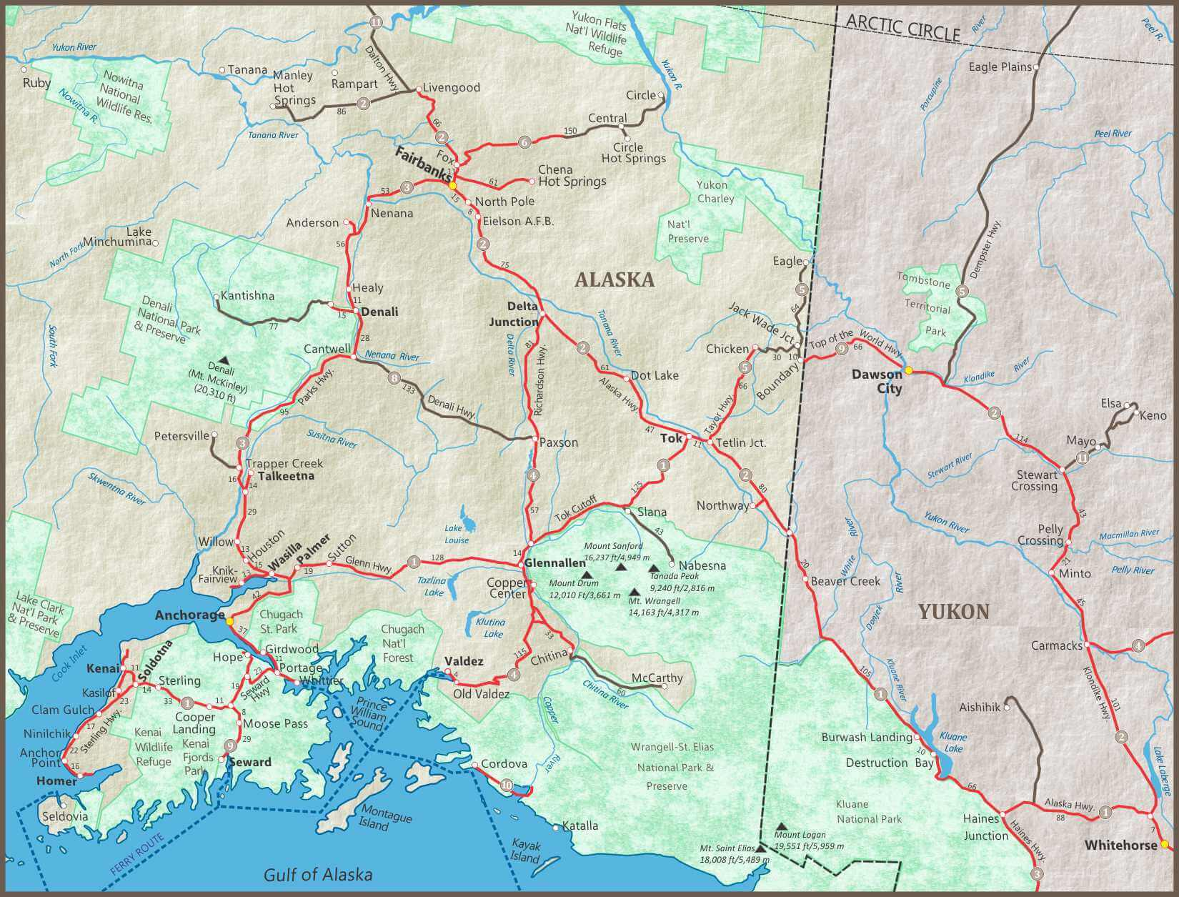 Alaska Maps of cities, towns and highways