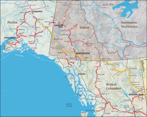 Map of Alaska Highway