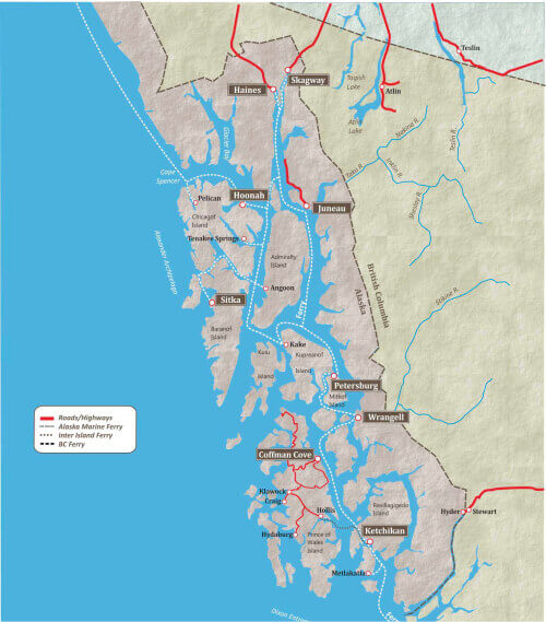 Map of Alaska's Inside Passage